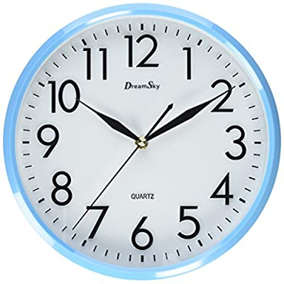 DreamSky Quiet Wall Clock No Ticking Wall Clock,10 Inch Large Face,Nice Navy Blue Frame And Dust Resistant Glass Cover - 10 inch basic dial quartz wall clock ,non ticking, quiet sweep second hand ensure a good sleeping and work environment. perfect for home, office or classroom - any place accurate timekeeping is needed Large and clear 3D illuminate numeric indicator at every hour and minute tracker make it easy to see from any corner of your room . Unlike other using cardboard as clock background that easy damaged in moisture and wet season, this clock back base are made of solid plastic , therefore remain well function and dry in any weather condition - wall-clocks, living-room-decor, living-room - 51vw2FTt52L. SS400  -