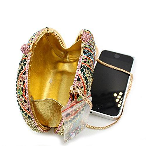 chirrupy Chief elefante bolsos para Mujeres Lujo Rhinestone cristal noche embrague bolsas dorado