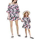 Franterd Mommy & Me Mom & Baby Parent-Child Slash Neck Family Matching Summer Mini Dress Cold Shoulder Dresses