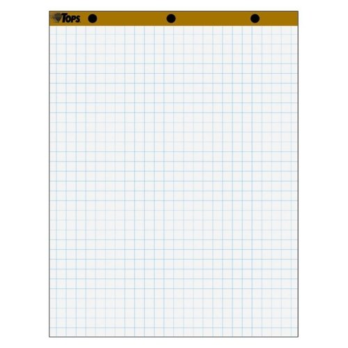 TOPS 1quot; Grid Square Ruled Easel Pad - 50 Sheet - 16 lb - Quad Ruled - 27quot; x 34quot; - 4 / Carton - White Paper by Tops