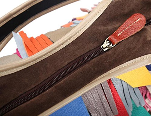 A JPFCAK Tassel Stitching Bag Cowhide Shoulder Crossbody Lady One Bags Lady Genuine Leather Bags r0rqOw8