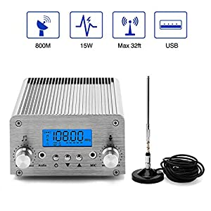 FM Broadcast Transmitter, Elikliv 15W LCD PLL Wireless Radio Stereo Broadcast Range 87~108MHz FM Transmitter for Church… MP3 and MP4 Player Accessories