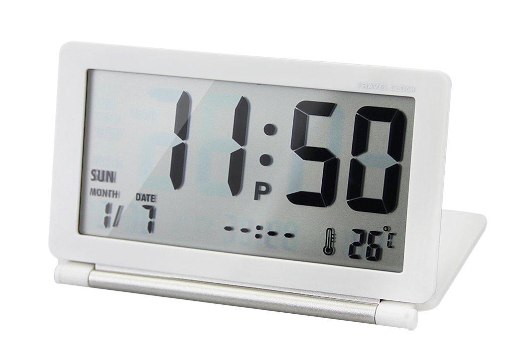 Electronic Travel Digital LCD Alarm Calendar Clock Portable Slim Flip Folding Silent Desk Alarm Clock Mini Size With Lid, Date/Time/Temperature Display, Repeating Snooze, White Moonlove
