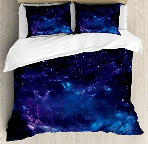 Ambesonne Sky Duvet Cover Set Queen Size by, Space Illustration Night Time Universe Stars and Nebulas Distant Parts of Galaxy, Decorative 3 Piece Bedding Set with 2 Pillow Shams, Purple Blue Black (Sky Duvet)