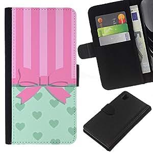 Arqueamiento Pink Hearts Líneas- la tarjeta de Crédito Slots PU Funda de cuero Monedero caso cubierta de piel Para Sony Xperia Z1 L39