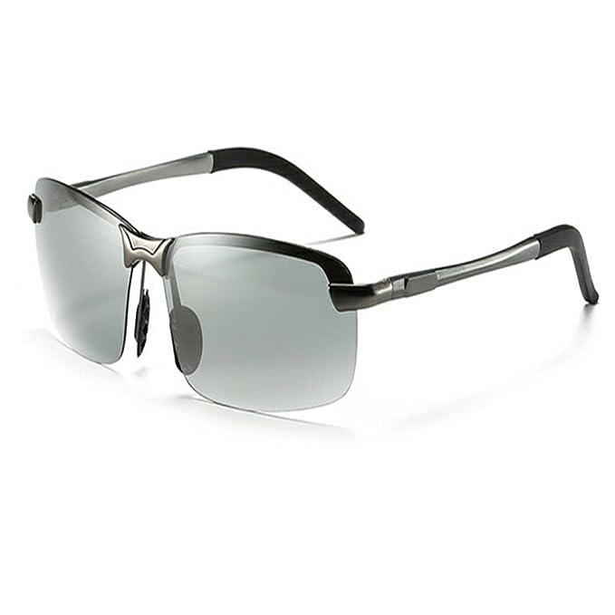 ecbd3de585 KLESIA Polarized Photochromic Semi Frame Lens Day and Night Photosensitive Driving  Sunglasses (Gun Grey
