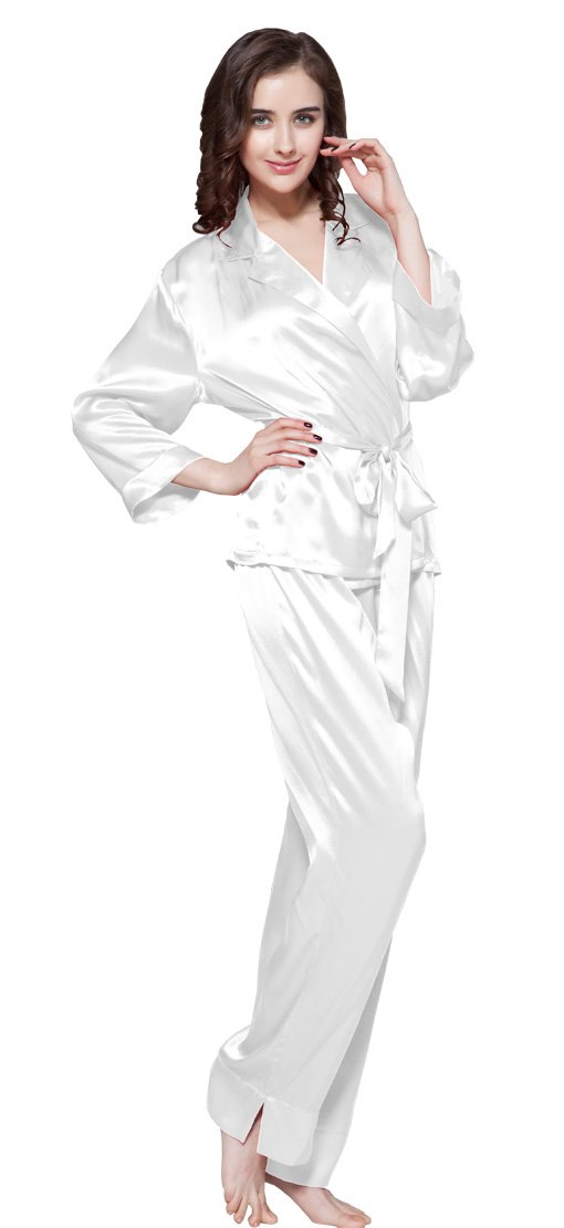 LILYSILK Women's 100 Silk Pajama Set Long with Belt Ladies 22 Momme Pure Mulberry Silk White Size 8-10/M