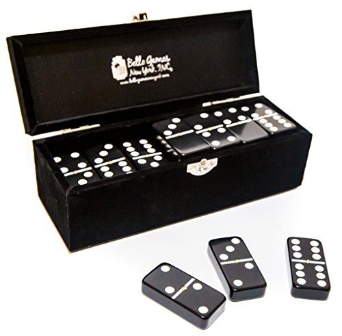 (Garment District Double Six Black Professional Jumbo Size Tournament Dominoes Set with Spinners)