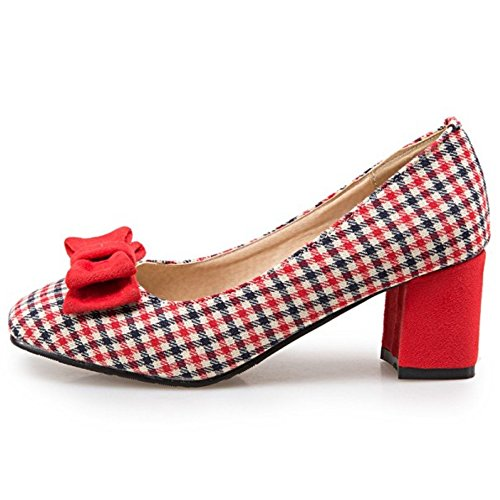TAOFFEN Women Classical Block Mid Heel Slip On Court Shoes With Bow Red Arga6z1pj