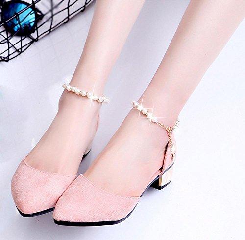 Sandalias Pink Los Planos De La Verano Mujer Baotou Palabra Señaló Zapatos Hebilla wnFzWqPII
