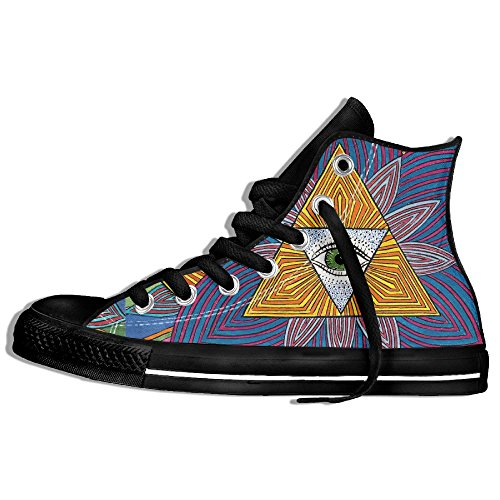 Classic High Top Sneakers Canvas Shoes Anti-Skid Eye Psychedelic Casual Walking For Men Women Black v5m4o