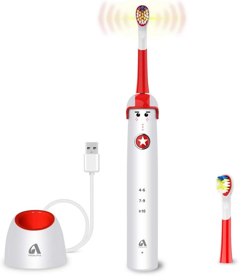 Cepillo de dientes eléctrico sónico para niños y adolescentes, diseño de dibujos animados, Cepillo de dientes resistente al agua USB inalámbrico Proalpha de carga rápida con memoria de modo: Amazon.es: Salud y