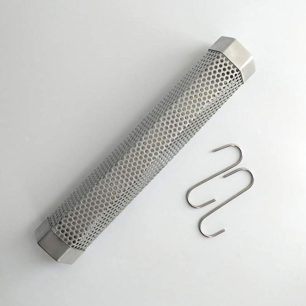 Yardwe Stainless Steel Pellet Tube Smoker Mesh Tube BBQ Tools with Cleaning Brush and 2PCS Hooks