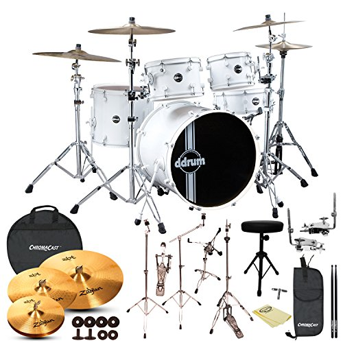 ddrum Reflex Standard Player 5pc Drum Set with Hardware, Zildjian ZBT 4pc Cymbal Pack, Cymbal Bag, Polish Cloth, ChromaCast Throne, Drumstick Bag and 5A Drumsticks
