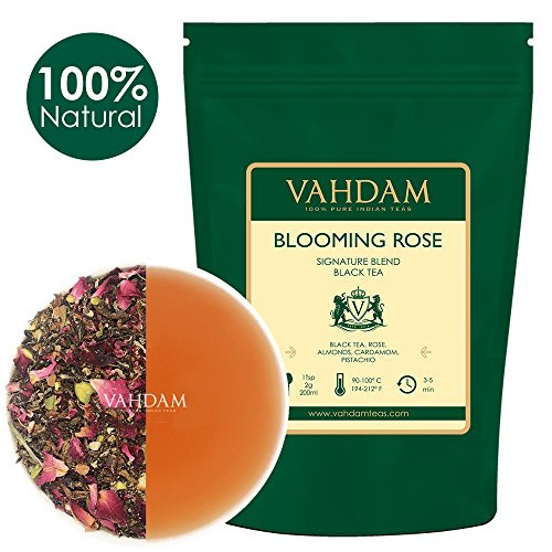 Blooming Rose Tea Leaves (100 Cups), 100% NATURAL INGREDIENTS, Delicious & Aromatic Rose Tea Loose Leaf - Black Tea, Rose Petals, Almonds, Cardamom, Pistachio, 7oz Almond Petals