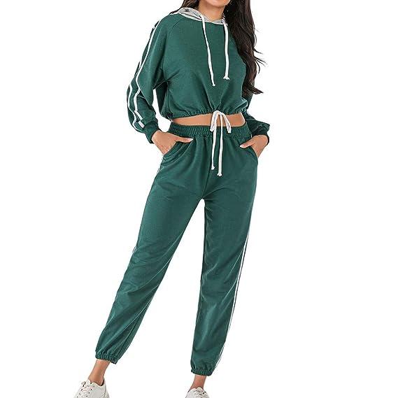 Ladies 2 Piece Set Striped Loungewear Tracksuit Active Sport Jogging Suit