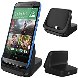 RND Dock for HTC One M8 (2014) (compatible with or without a slim fit case) (black)