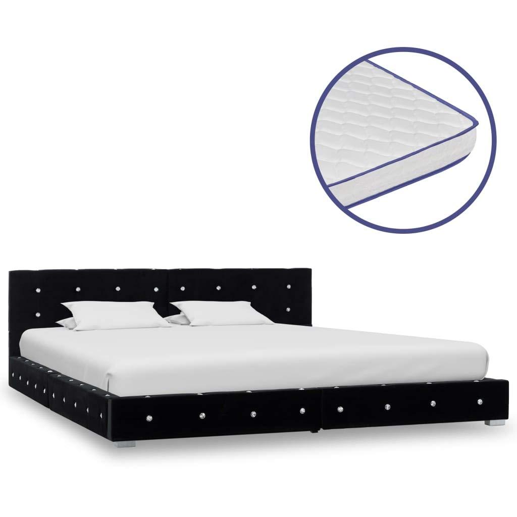 Tidyard Bett mit Memory-Schaum-Matratze Bettgestell mit Lattenrost Bettrahmen Bett Doppelbett Bett Bettrahmen Bett Grau Samt 180x200cm