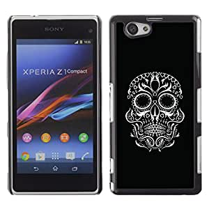 Shell-Star Art & Design plastique dur Coque de protection rigide pour Cas Case pour Sony Xperia Z1 Compact / Z1 Mini / D5503 ( Black Biker White Skull Eyes Rock )