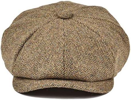 BOTVELA Men Cotton Twill Newsboy Flat Ivy Driving Hat Fitted Cap