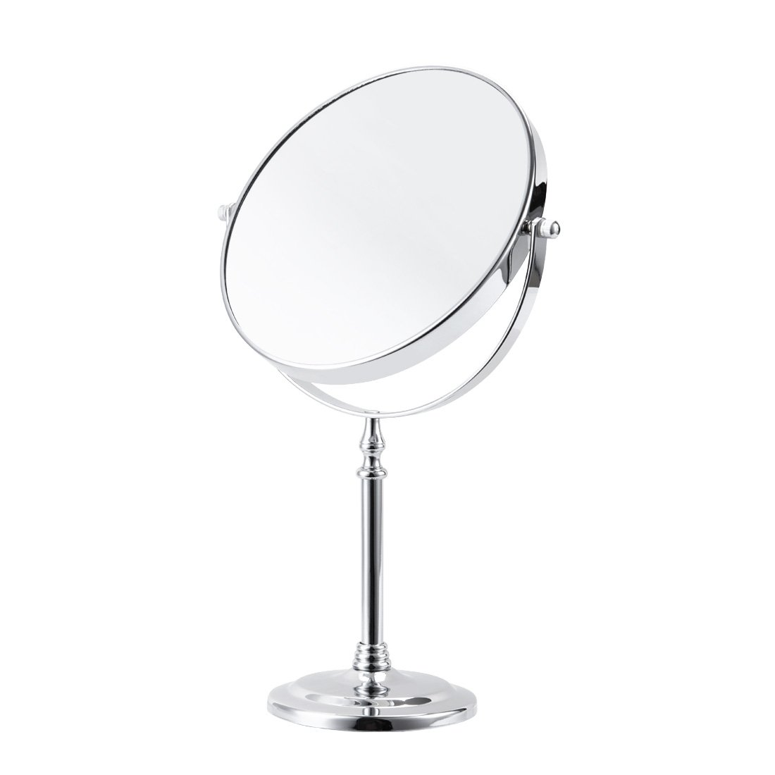 FIRMLOC Makeup Vanity Mirror 7X Magnifying Double-Side Tabletop Swivel Comestic Mirror Chrome Finish 15-inch Height Silver