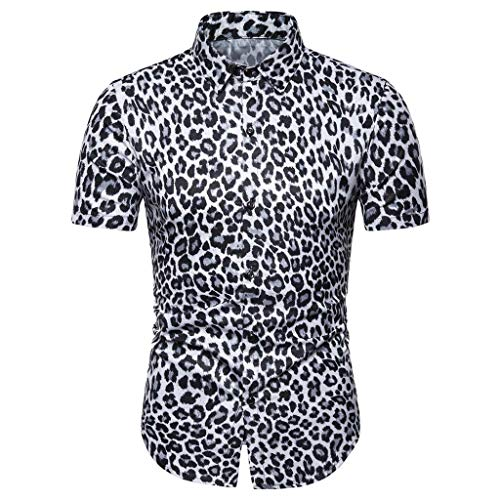 Tiitstoy Men's Fashion Leopard Print Slim Tee Shirts Short Sleeve Tops Blouse (White,X-Large)