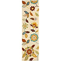 Safavieh Blossom Collection BLM677A Handmade Beige and Multi Premium Wool Runner (23 x 8)