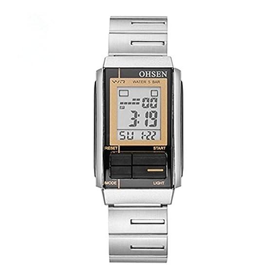 832abceab Original de la marca OHSEN mujeres reloj Digital reloj hembra Lady morado  LCD reloj 50 m resistente al agua: Amazon.es: Relojes