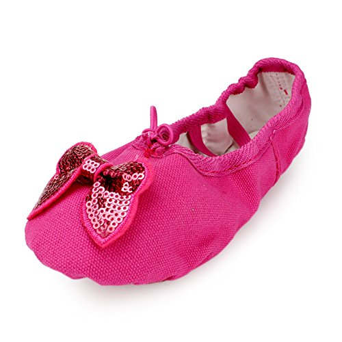 MSMAX Kid Girl's Canvas Bowknot Dance Ballet Flat,Rose,Toddler,9.5 M US