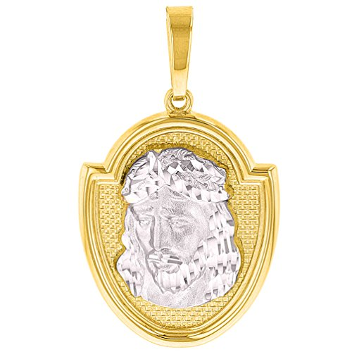 14K Two-Tone Gold Jesus Christ Medal God Bless Us Pendant