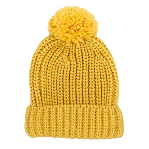Jiuhong Kids Toddler Pompom Beanie Hat Baby Cable Knit Winter Hats Candy-Colored Caps for Girls and Boys (Yellow)