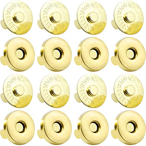 Onwon 20 Set Magnetic Snaps for Purse Magnetic Bag Fastener Clasp Magnetic Button Replacement Kit Perfect for Purse, Bag, Clothes, Leather (Gold 18mm)