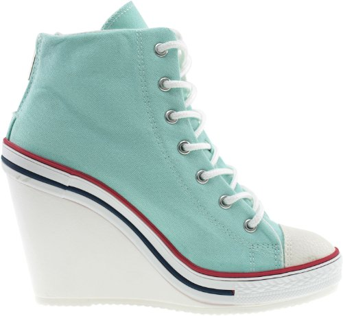 Mint Maxstar Wedge Canvas 777 Heel Back Zipper High Women's Sneakers TTPwpq7