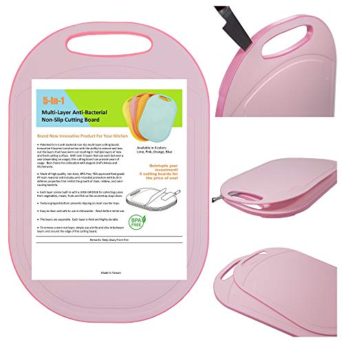 Kylermade 5 In 1 Multi-Layer Anti-Bacterial Non-Slip Cutting Board (Pink), Innovative 5 layered construction, 5 Kitchen Chopping Boards for Price of 1, BPA Free, Dishwasher Safe, Juice Grooves