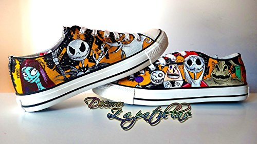 Nightmare before Christmas custom canvas shoes handpainted, low tops shoes - Christmas gift - Black Friday - Gifts for him - Gifts for her