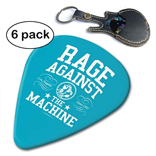WB - Rage Against The Machine 351 Shape Classic Guitar Picks (6 Pack) For Electric Guitar, Acoustic Guitar, Mandolin, And Bass. Gift Leather Pick Holder Keychain (0.46mm, 0.71mm, 0.96mm)