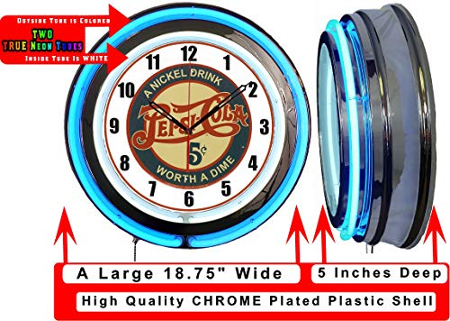 "Checkingtime LLC 19"" Pepsi 5 Cents Neon Clock, Two Neon Tubes, Blue Outside Tube"
