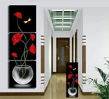 3piece noir et rouge peinture toile dcorative de salon moderne grande peinture tableau imprim fleurs art