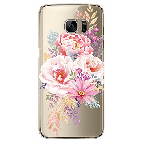 - JAHOLAN Cute Girl Floral Design Clear TPU Soft Bumper Slim Flexible Silicone Cover Phone Case for Samsung Galaxy S7 - Pink Peony
