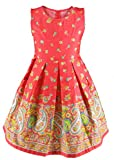Buenocns Summer Dresses Girls Sleeveless Cotton Round Neck Floral Printed Girls Dresses Red Paisley 314 12