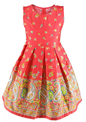 Buenocns Summer Dresses Girls Sleeveless Cotton Round Neck Floral Printed Girls Dresses Red Paisley 314 12 by Buenocns