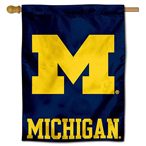 College Flags and Banners Co. University of Michigan Wolverines UM House Flag - Michigan Wolverines Banner