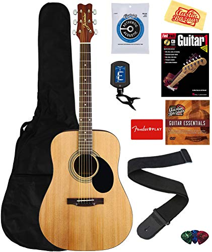 Jasmine S35 Acoustic Guitar – Natural Bundle with Gig Bag, Strings, Tuner, Strap, Picks, Instructional Book, DVD, and Austin Bazaar Polishing Cloth