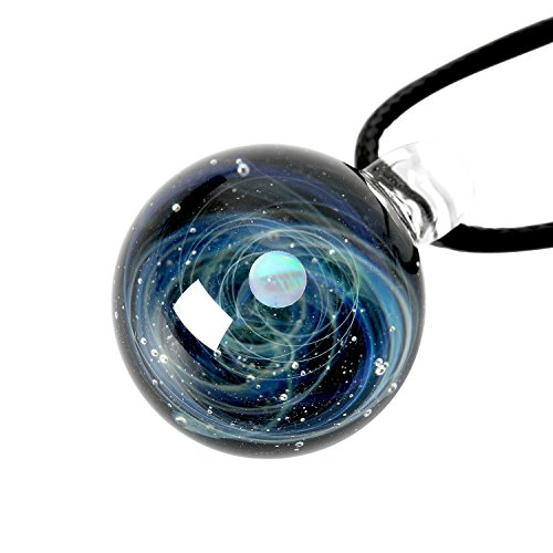 9PIG Natural Glass Pendant Necklace Jewelry, Universe Galaxy Unique Special Luxury Gift, Series GALAXURY by 9PIG
