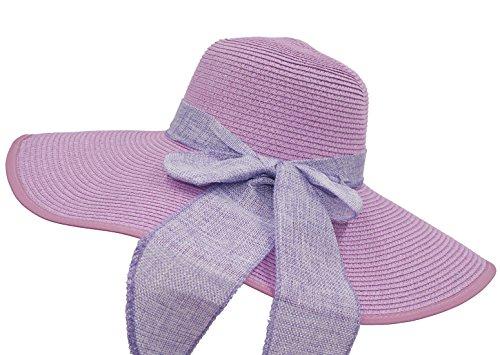 Roffatide UPF50+ Women's Foldable Bowknot Straw Floppy Wide Brim Sun Hat Beach Cap Muti Colors Lilac