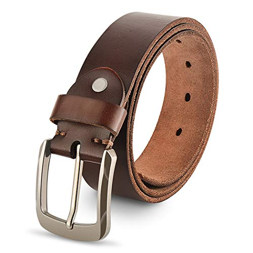 Genuine Leather Belts For Men, 100% Full Grain Fashion Mens Belt For Casual Wear, With Antique Alloy Buckle, Brown. ()