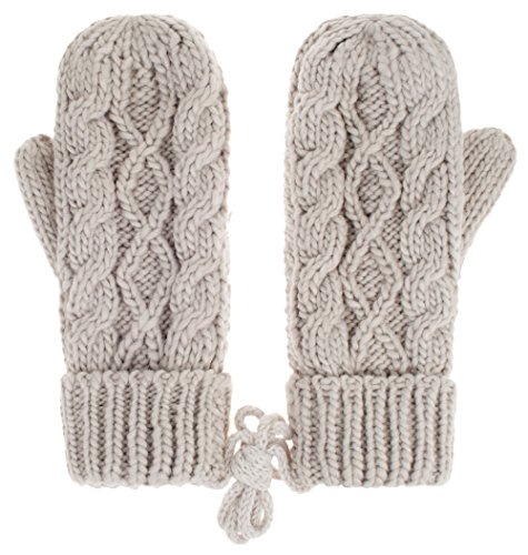 er Glove Hemp Plush Lining Thick Knit Mitten Drive Work Gloves,Light gray ()