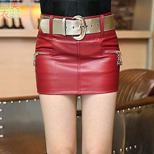 XiaoGao Falda de Cuero de la PU,XL Rojo: Amazon.es: Deportes y ...