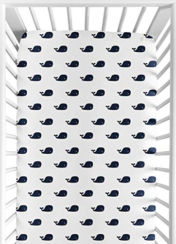 Sweet Jojo Designs Fitted Crib Sheet for Blue Whale Baby/Toddler Bedding Set Collection - Mini Whale Print