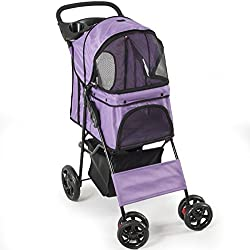 Fur Family Four Wheel Pet Stroller Dog, Cat & More, Foldable Carrier Strolling Cart, (Purple)